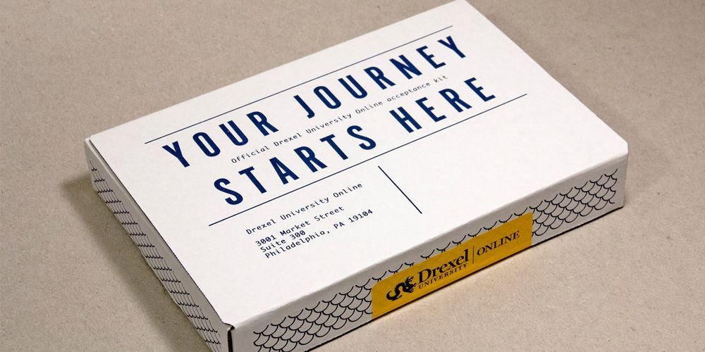 Voorbeeld onboarding kit Drexel University thuisstudie cursisten geschenk