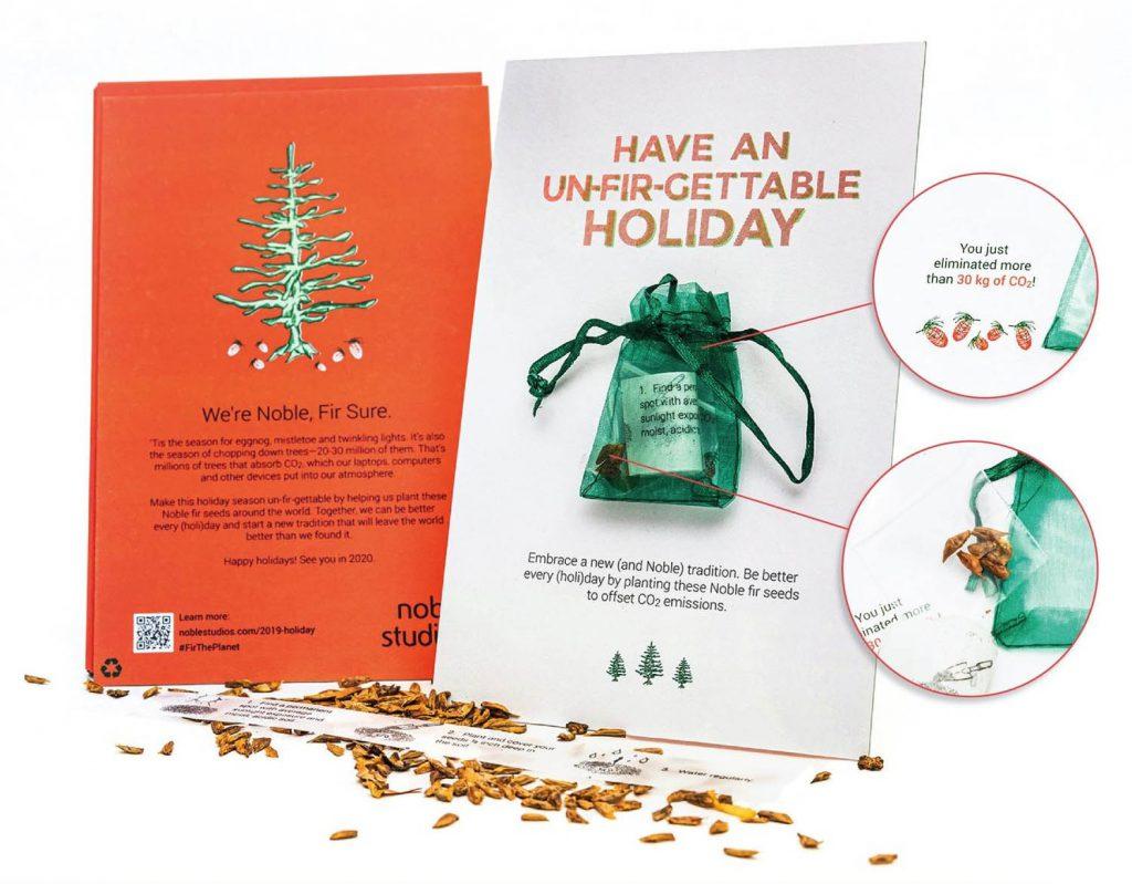 Kerstkaart met zaadjes kerstboom direct mail campagne